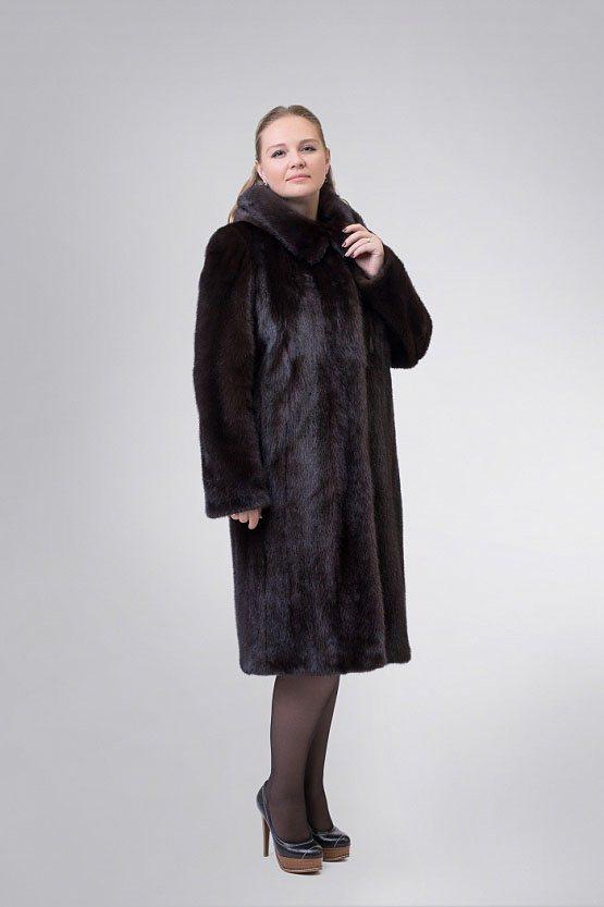 Норковая шуба 735 (темно-коричневая)
