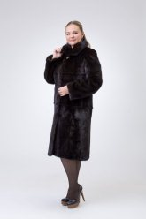 Норковая шуба 921 (темно-коричневая)